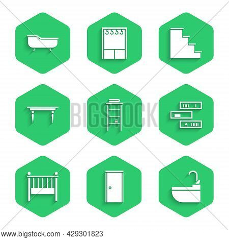 Set Bathroom Rack With Shelves For Towels, Closed Door, Washbasin Water Tap, Shelf Books, Baby Crib