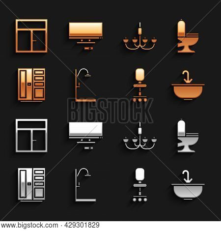 Set Shower, Toilet Bowl, Washbasin With Water Tap, Office Chair, Wardrobe, Chandelier, Window The Ro
