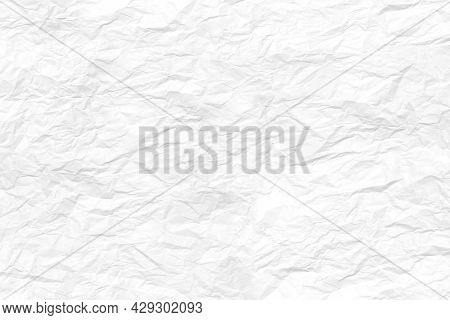 Abstract White Creased Paper Texture Background. White Crumpled Papers Sheet.