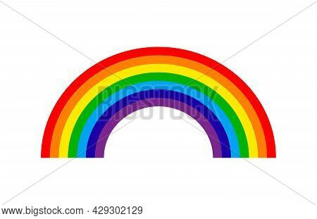 Cartoon Rainbow. Rainbow With Purple, Red, Yellow, Blue, Green Color. Icon Of Arch For Kids. Color B
