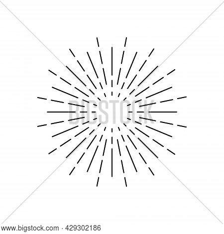 Sunburst Icon. Circle With Lines Of Burst Sun. Sparks And Rays Of Stars. Retro Element Of Sunshine.