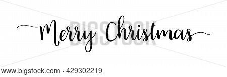 Merry Christmas Text Font. Lettering Of Happy Xmas. Design Calligraphy Of Text For Greeting. Black V