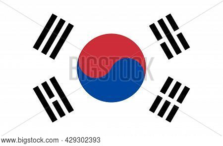 South Korea Flag. Korean National Icon. Symbol Of Yinyang On Flag. Emblem Of Republic Of South Korea