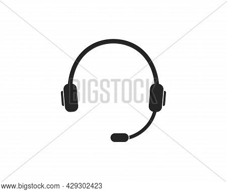 Headphone With Microphone. Icon Of Headset For Call Center, Support Of Customer. Online Callcenter,