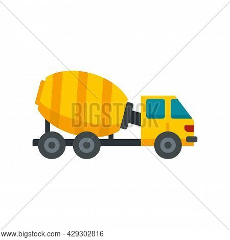 Cement Mixer Truck Icon. Flat Illustration Of Cement Mixer Truck Vector Icon Isolated On White Backg