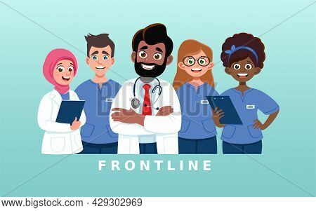 Diverse Healthcare Professional Team In Cartoon Style. Multicultural Group Of Positive Doctors And N