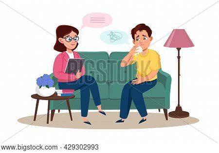 Psychotherapy Counseling Concept. Woman Psychologist  And Young Man Patient In Therapy Session. Trea