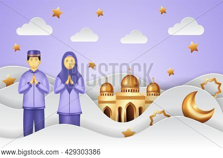 Islamic Background Paper Cut Style With Man And Woman Praying. Islamic Background Suitable For Ramad