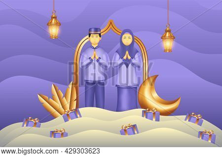 Islamic Background Paper Cut Style With Gift Man And Woman Praying. Islamic Background Suitable For