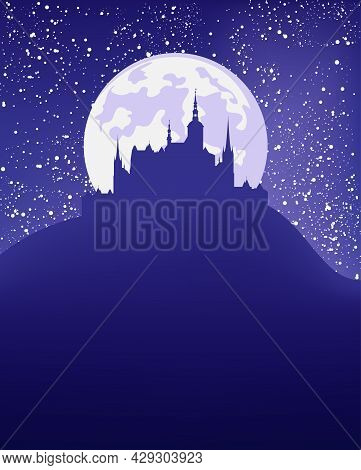 Fantasy Scene With Night Sky, Full Moon, Shining Stars And Medieval Castle Silhouette - Fairy Tale V