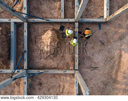 Top View Team Civil Engineer Consultant Discussion Meeting And Inspection Structure Prefabricated Co