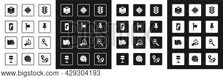 Set Traffic Light, Location Marker, City Map Navigation, Monitor With Location, Push Pin, World Glob