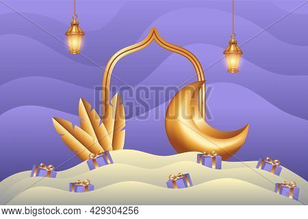 Islamic Background In Paper Cut Style With Gift And Golden Crescent Moon. Islamic Background Suitabl