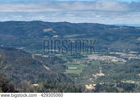 Overview Of The Napa Valley From The Table Rock Trail, Robert Louis Stevenson State Park On A Partly