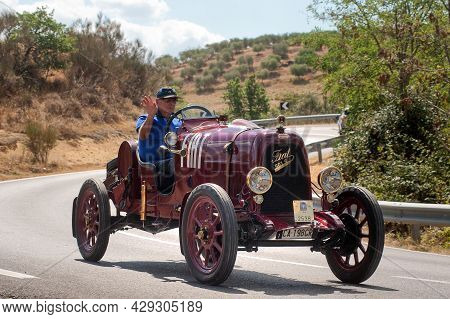 Pienza, Tuscany, Italy, August 8 2021, A Restored 1925 Fiat 501 S On The Road