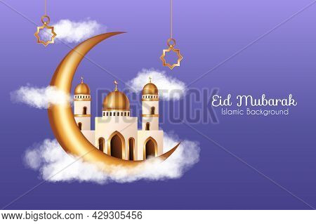 Islamic Background With Realistic Clouds, 3D Golden Mosque And Crescent Moon Decorations. Islamic Ba