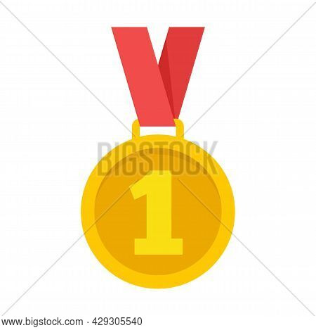 Gold Premium Medal Icon. Flat Illustration Of Gold Premium Medal Vector Icon Isolated On White Backg