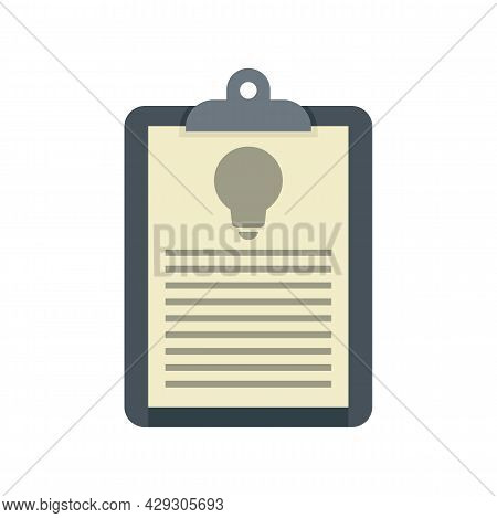 Innovation Clipboard Icon. Flat Illustration Of Innovation Clipboard Vector Icon Isolated On White B
