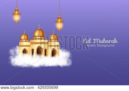 Eid Mubarak Background With Realistic Clouds, 3D Golden Mosque And Decorations. Islamic Background S