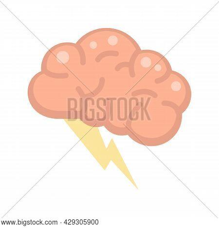 Brain Innovation Idea Icon. Flat Illustration Of Brain Innovation Idea Vector Icon Isolated On White