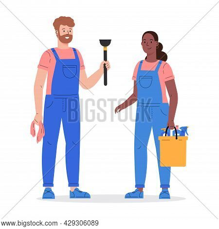 Cleaning Company Staff With The Equipment. Cleaning Service, Man And Woman With A Plunger And A Buck