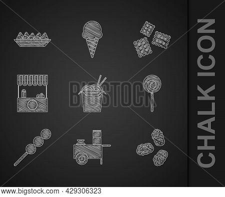Set Asian Noodles And Chopsticks, Fast Street Food Cart, Chicken Nuggets, Lollipop, Meatballs On Woo