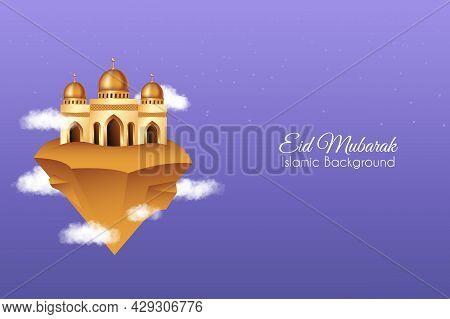 Eid Mubarak Background With Mosque In The Sky. Islamic Background Suitable For Ramadan, Eid Al Adha,