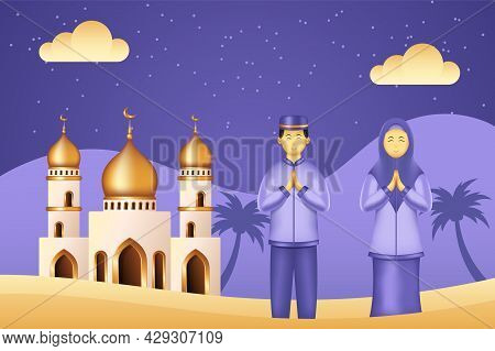 Islamic Background Paper Cut Style With Mosque, Man And Woman Praying. Islamic Background Suitable F