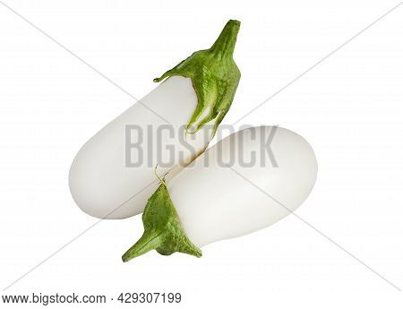 Two White Eggplants Isolated On A White Background. Eggplant Vegetable