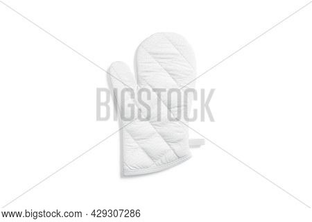 Blank White Oven Mitt Mock Up Front, Top View, 3d Rendering. Empty Arm Potholder Cooking Protective