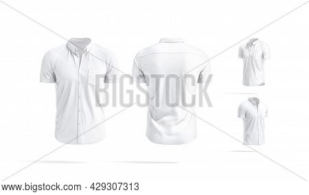 Blank White Short Sleeve Button Down Shirt Mockup, Different Views, 3d Rendering. Empty Cotton Slim