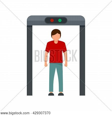 Airport Scanner Gate Icon. Flat Illustration Of Airport Scanner Gate Vector Icon Isolated On White B