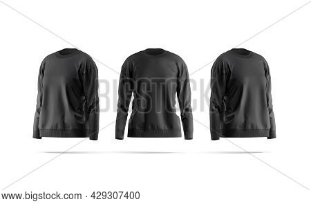 Blank Black Women Sweatshirt Mock Up, Front And Side View, 3d Rendering. Empty Female Sport Tolstovk