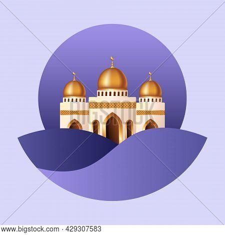 Islamic Background With Mosque. Islamic Background Suitable For Ramadan, Eid Al Adha, Eid Al Fitr.