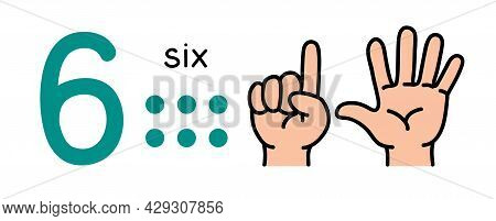 6, Kids Hand Showing The Number Six Hand Sign.