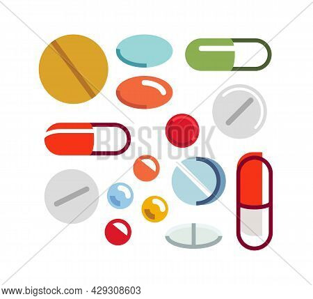 Different Medical Pills Vector Simple Flat Illustrations Of Icons Set Isolated On White, Meds Drugst