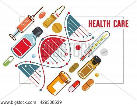 Dna Strand Based Medical Theme Composition With Lots Of Different Drugs And Meds Vector Illustration