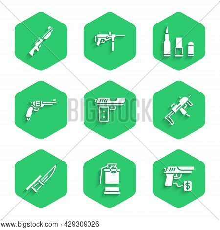 Set Pistol Or Gun, Hand Smoke Grenade, Buying Pistol, Mp9i Submachine, Bayonet On Rifle, Revolver, B