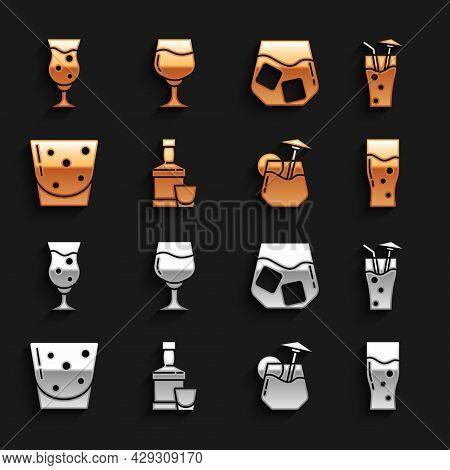 Set Whiskey Bottle And Glass, Cocktail, Glass Of Beer, Rum, Whiskey, And Wine Icon. Vector