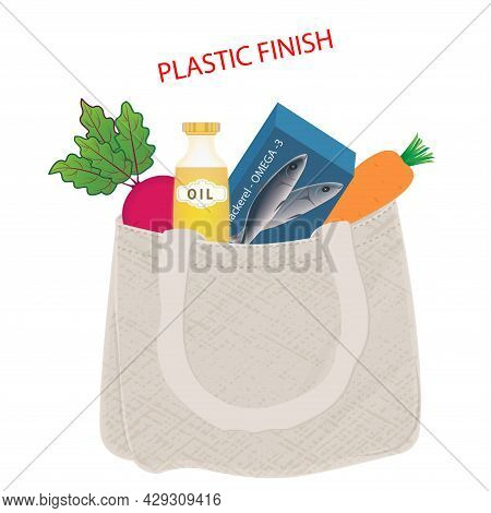 Cotton Bag With Food - Mackerel, Beets, Carrots, Olive Oil In A Bottle. Say No To Plastic. Vector Il