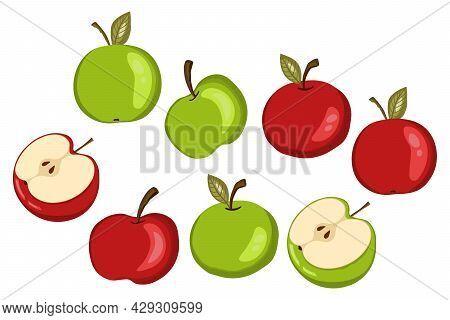Apple Icon Set Isolated On White Background. Natural Delicious Ripe Tasty Fruit. Template Vector Ill