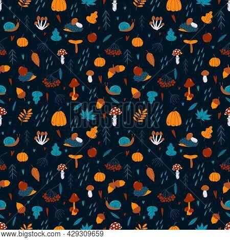 Vector Autumn Seamless Pattern With Pumpkin, Rowan, Spruce, Acorn, Mushrooms, Hedgehog, Leaves, Snai