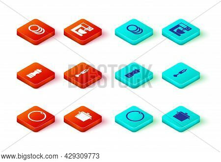 Set Cutting Board, Cooking Pot, Pepper, Blender, Electric Mixer And Plate Icon. Vector