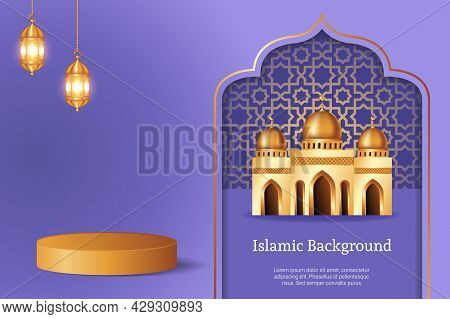 Luxury 3d Display Podium Decoration In Purple Background With Realistic Mosque And Golden Crescent M