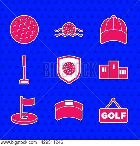 Set Golf Ball With Shield, Sun Visor Cap, Label, Award Over Sports Winner Podium, Hole Flag, Club, B