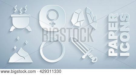 Set Ouroboros, Magic Stone, Powder, Medieval Sword, Venus And Witch Cauldron Icon. Vector