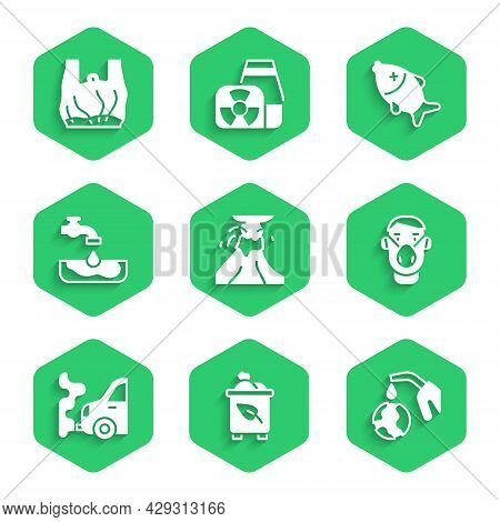Set Volcano Eruption With Lava, Recycle Bin Recycle, Gas Pump Nozzle And Globe, Face Protective Mask