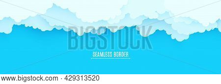 Seamless Border Of Blue Sky And White Clouds In Paper Cut Style. 3d Papercut Background With Top Vie