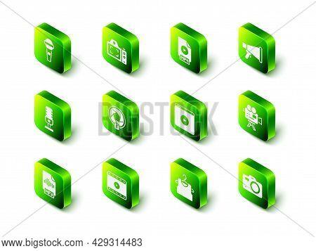 Set Photo Camera, Mp4 File Document, Megaphone, Retro Cinema, Online Play Video, Sleeveless T-shirt