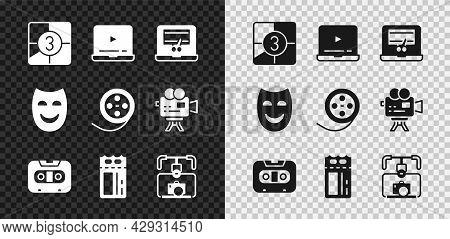 Set Old Film Movie Countdown Frame, Video Recorder On Laptop, Retro Audio Cassette Tape, Cinema Tick